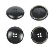 Czarny odzież guzik odizolowywający Zdjęcie Stock