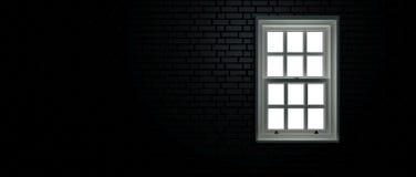 Czarny okno i ściana z cegieł zdjęcia royalty free