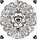 czarny okręgu serca ornamental ilustracja wektor