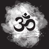 Czarny om symbol na pociągany ręcznie folwarczka tle, hindusa Diwali sprawy duchowe znak Om Druk, tatuaż, joga, duchowość, tkanin royalty ilustracja