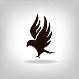 Czarny orzeł z szeroko rozpościerać skrzydłami Obrazy Stock