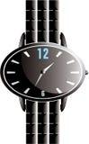 czarny owalny błyszczący zegarek Fotografia Stock