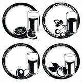 czarny owoc szklane soku etykietki ilustracja wektor