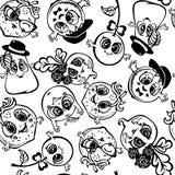 Czarny owocowy kontur, barwi bezszwowego wzór Kreskówka styl royalty ilustracja