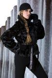 czarny płaszcz futra, Fotografia Royalty Free