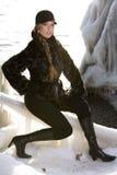 czarny płaszcz futra, Zdjęcie Stock