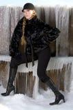 czarny płaszcz futra, Obrazy Stock