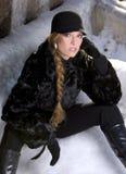 czarny płaszcz futra, Fotografia Stock