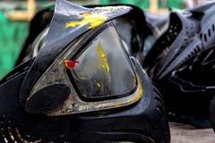 Czarny paintball hełm fotografia stock