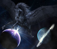 czarny Pegasus ilustracji