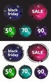 Czarny Piątek, set nowożytni sztandary w stylu Memphis Dyskontowe kolorowe okrąg etykietki z geometrycznymi elementami Zdjęcia Royalty Free