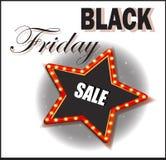czarny Piątek Sprzedaż rabaty Retro jaśnienie gwiazda Plakat lub sztandar Obrazy Stock