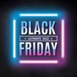 Czarny Piątek sprzedaży projekta szablon Czarna Piątku światła rama Rozjarzony neonowy tło również zwrócić corel ilustracji wekto Obraz Royalty Free