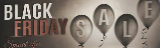 Czarny Piątek sprzedaży sztandar z balonami zdjęcie royalty free