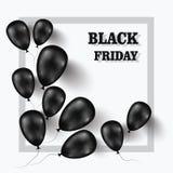 czarny Piątek Sztandar dla twój projekta z balonami światowy dzień sprzedaż również zwrócić corel ilustracji wektora Obraz Royalty Free