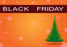 Czarny Piątek Sztandar i Choinka na Pomarańczowym B Obraz Stock