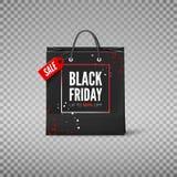 Czarny Piątku pojęcie Czarna papierowa torba z etykietki sprzedażą i rabat oferujemy Black Friday sztandaru szablon również zwróc zdjęcia stock