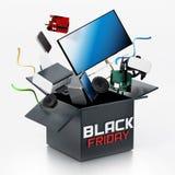 Czarny Piątku pudełko z sprzętem elektronicznym ilustracja 3 d ilustracji