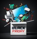 Czarny Piątku pudełko z sprzętem elektronicznym ilustracja 3 d ilustracja wektor