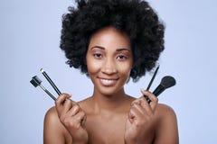 Czarny piękno model w studiu Zdjęcie Royalty Free