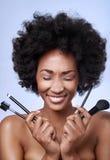 Czarny piękno model w studiu Zdjęcia Royalty Free