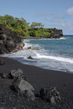 czarny piasek na plaży Obrazy Royalty Free