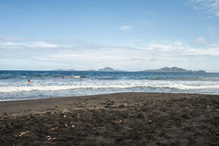 czarny piasek na plaży Obraz Stock