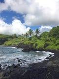 czarny piasek plażowy Maui Fotografia Stock