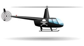 Czarny pirata helikopter zaciemnia wektor royalty ilustracja
