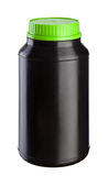 Czarny Plastikowy Słój - Zielony Dekiel obraz royalty free