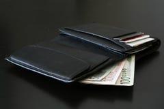 czarny portfel Obrazy Stock