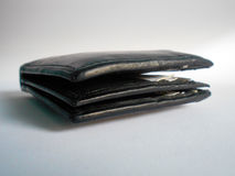 Czarny portfel odizolowywający na bielu Fotografia Stock
