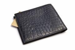 Czarny portfel z Kredytową kartą zdjęcie royalty free
