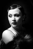 czarny portreta retro biel Obraz Royalty Free