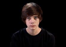 czarny portreta smutny nastolatek Obrazy Royalty Free