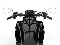 Czarny potężny nowożytny siekacza rower - jeźdza punktu widzenia strzał Obrazy Stock