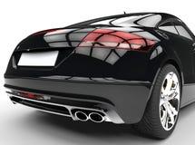 Czarny Potężny samochód Na Białym tło plecy widoku Zdjęcia Royalty Free