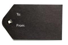 czarny prezenta papieru etykietka Fotografia Stock