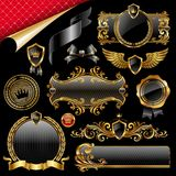 czarny projekta elementów złota set Obraz Royalty Free