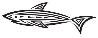 czarny projekta rekinu tatuaż Ilustracja Wektor