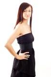 czarny przypadkowej sukni dziewczyny target830_0_ fotografia royalty free