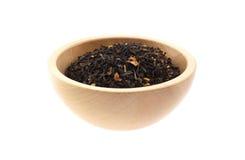 czarny pucharu herbaty drewno Zdjęcie Royalty Free