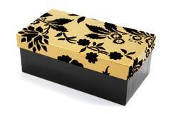 czarny pudełka prezenta złoto Zdjęcie Royalty Free