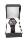 Czarny pudełko z zegarkiem na białym tle Fotografia Royalty Free