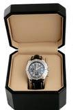 czarny pudełka luksusowy zegarek Zdjęcie Royalty Free