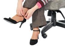 czarny ręki nóg obuwiana kobieta Obrazy Stock