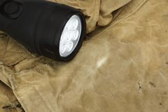 Czarny reflektor na wojsko torebce Zdjęcia Stock