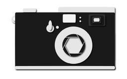 Czarny retro, modniś, antyk, stara, antykwarska kamera z cieniem na białym tle, ilustracja wektor