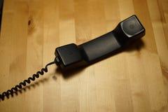 Czarny retro rocznika telefon Zdjęcia Royalty Free
