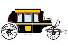 Czarny retro stagecoach ilustracja wektor